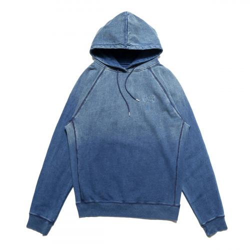 Chrystie NYC Indigo Dye Classic Logo Hoodie